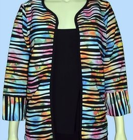 Pretty Woman 3/4 Sleeve Jacket Multi Stripe