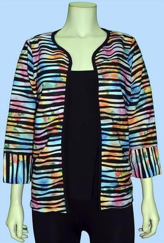 Pretty Woman 3/4 Sleeve Jacket Multi Stripe