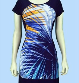 Pretty Woman Solid Sides Dress with Pockets Blue Palms