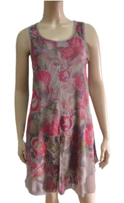 Pretty Angel Full Cut Sleeveless Dress with Floral Print Front Ecru