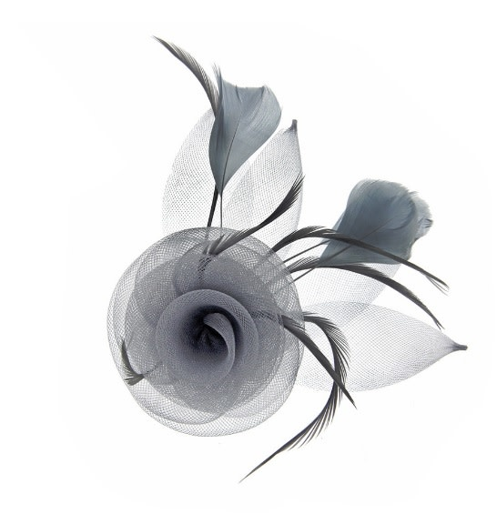Something Special LA Feathered Mesh Flower Hair Clip and Pin Grey
