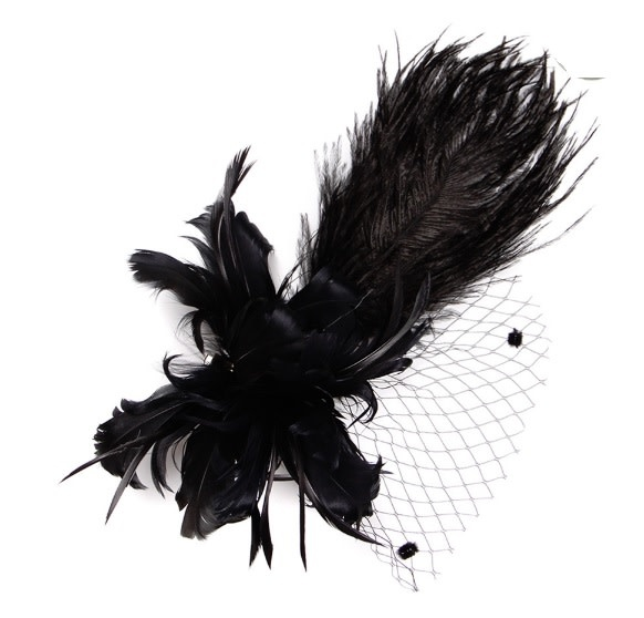 Something Special LA Feather Plume Clip/Pin Black
