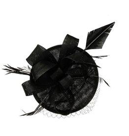 Something Special LA Black Large Sinamay Disk Fascinator Ribbon and Netting