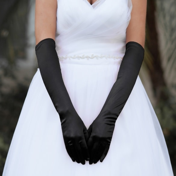Something Special LA Long Satin Gloves Black