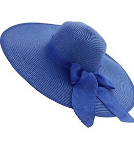 Something Special LA Large Floppy Casual Straw Braid Hat Royal Blue