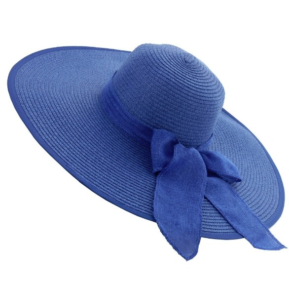 Something Special LA Large Floppy Casual Straw Braid Hat Royal Blue