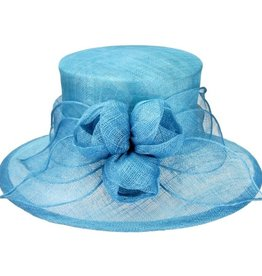 Something Special LA Medium Brim Sinamay Hat with Sinamay Tulips Aqua
