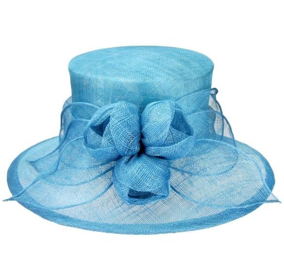Something Special LA Medium Brim Sinamay Hat with Sinamay Tulips Aqua