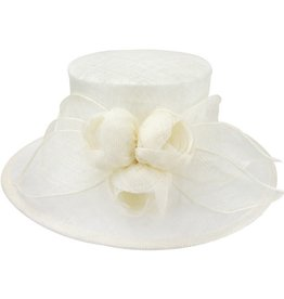 Something Special LA Medium Brim Sinamay Hat with Sinamay Tulips Ivory