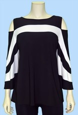 Pretty Woman Cold Shoulder Big Stripes Bell Sleeve Tunic Black White
