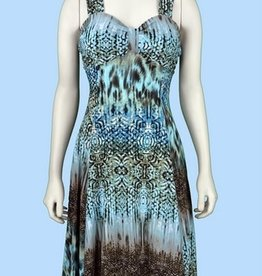 Pretty Woman Sublimation Dress Ruffle Bottom Mint Brown Abstract