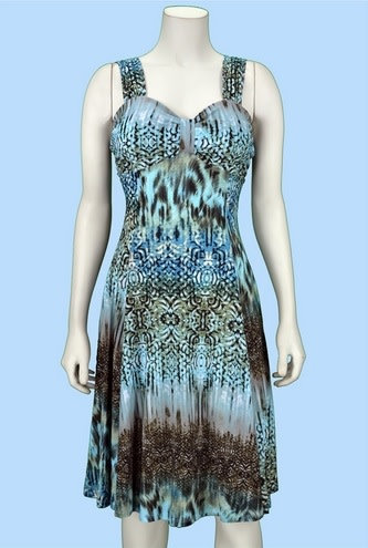 Pretty Woman Gathered at Chest Figure Flattering Dress Mint Brown Abstract