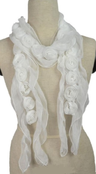 Pretty Angel Sheer Scarf with Rosettes White