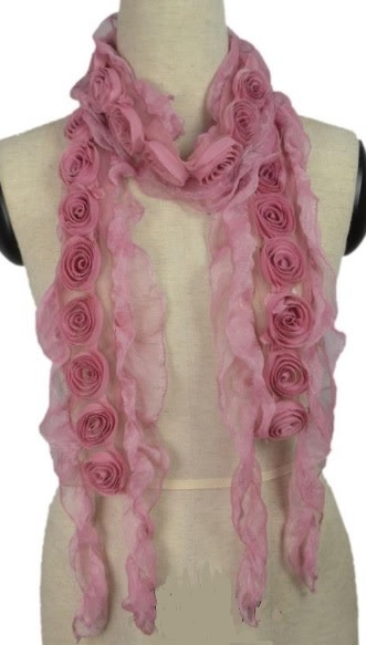 Pretty Angel Sheer Scarf with Rosettes Dusty Pink