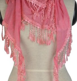 Pretty Angel Lace Inlay & Fringe Scarf Coral