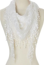 J & X Triangle Sheer Scarf w/Roses and Fringe White