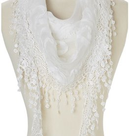 Triangle Sheer Scarf w/Roses and Fringe White