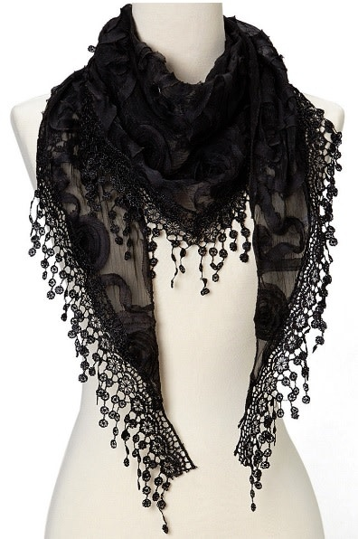 J & X Triangle Sheer Scarf w/Roses and Fringe