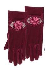 Silk Rosette Velvet Glove Burgundy