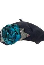 Soft Wool Rose Tam Black Teal