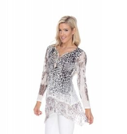 Kamana Button V Neck Cheetah Print Tunic with Tiered Bottom