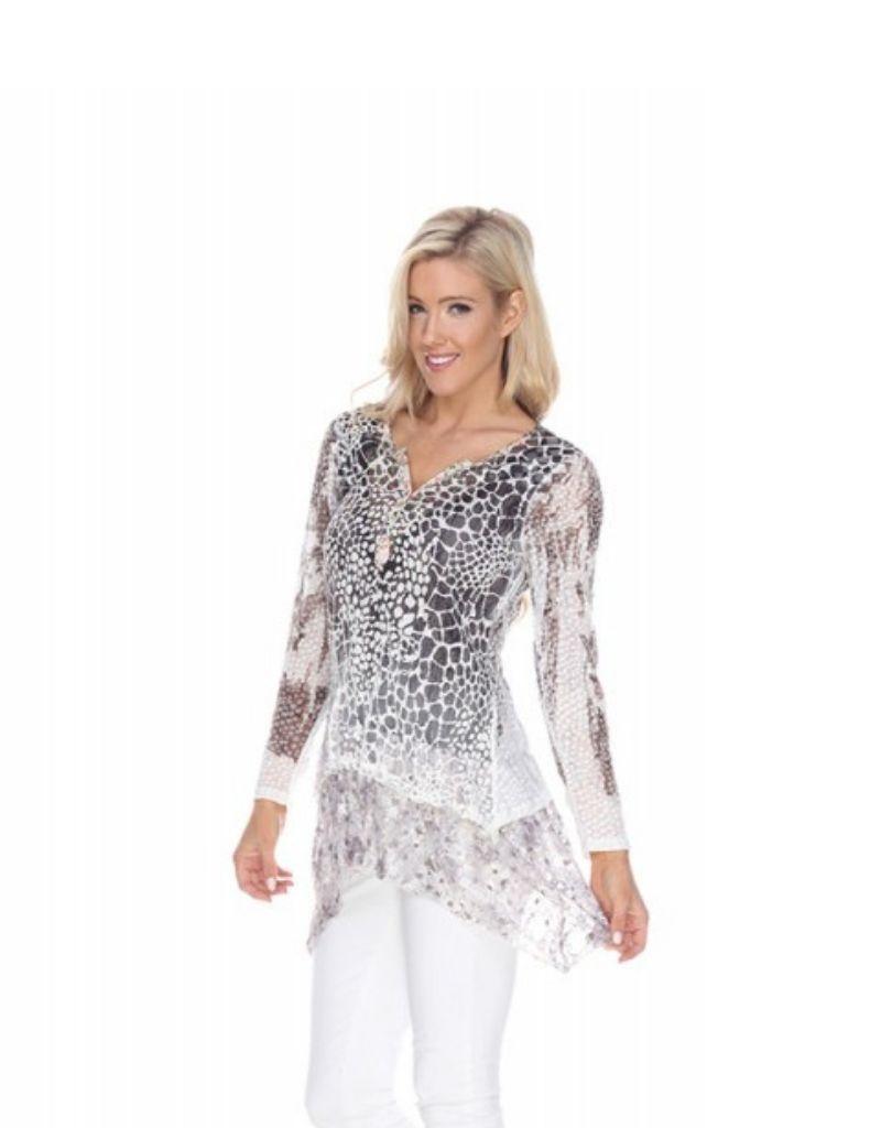Kamana Button V Neck Cheetah Print Tunic with Tiered Bottom