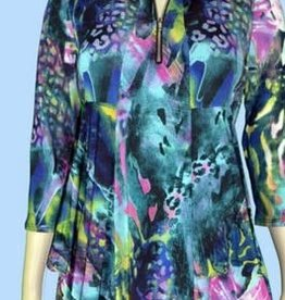 Pretty Woman 3/4 Sleeve Printed Tunic w/ Zipper Front Fuchsia/Lime