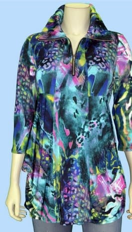 Pretty Woman 3/4 Sleeve Printed Tunic w/ Zipper Front Fuchsia/Lime