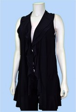 Pretty Woman Ruffle Front Vest with Pockets Black