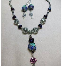 Sharon B's Originals 3 Aqua & Purple Lampwork Floral Beads Necklace & Earring Set