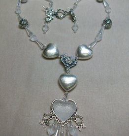 Sharon B's Originals Frosted Etched Heart w/ 3 Silver Hearts Neckalce & Earring Set
