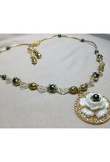 Sharon B's Originals White Rose Pendant w/ Black Pearls & Noodles Necklace & Earring Set