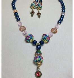 Sharon B's Originals 5 Blue & Pink Lampwork Round Floral Beads Necklace & Earring Set