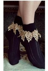 Victorian Trading Co Lavish Lace Socks Black/Tea