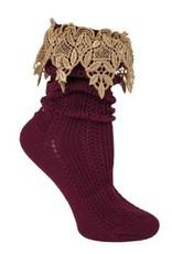 Victorian Trading Co Lavish Lace Socks Burgundy/Tea