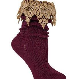 Lavish Lace Socks Burgundy/Tea