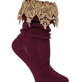 Victorian Trading Co Lavish Lace Socks Burgundy/Tea