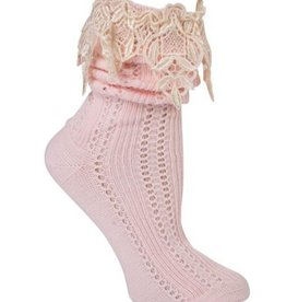 Victorian Trading Co Lavish Lace Socks Pink/Ivory