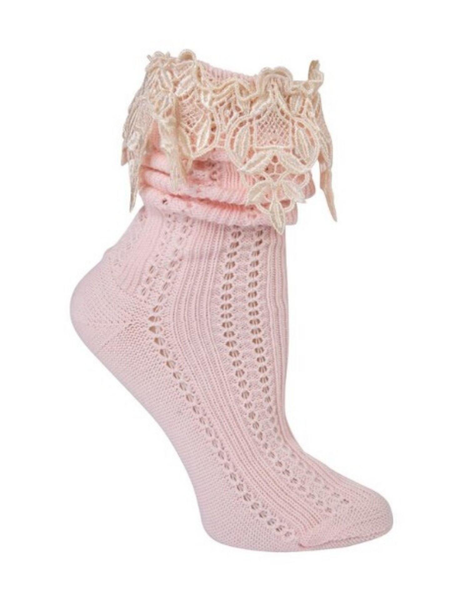 Victorian Trading Co Lavish Lace Socks Pink/Ivory
