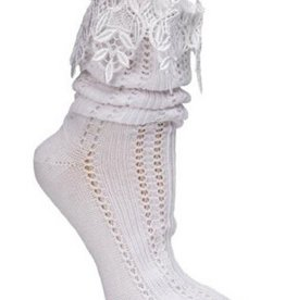 Victorian Trading Co Lacy Slouch Socks White