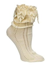 Victorian Trading Co Lacy Slouch Socks Ivory