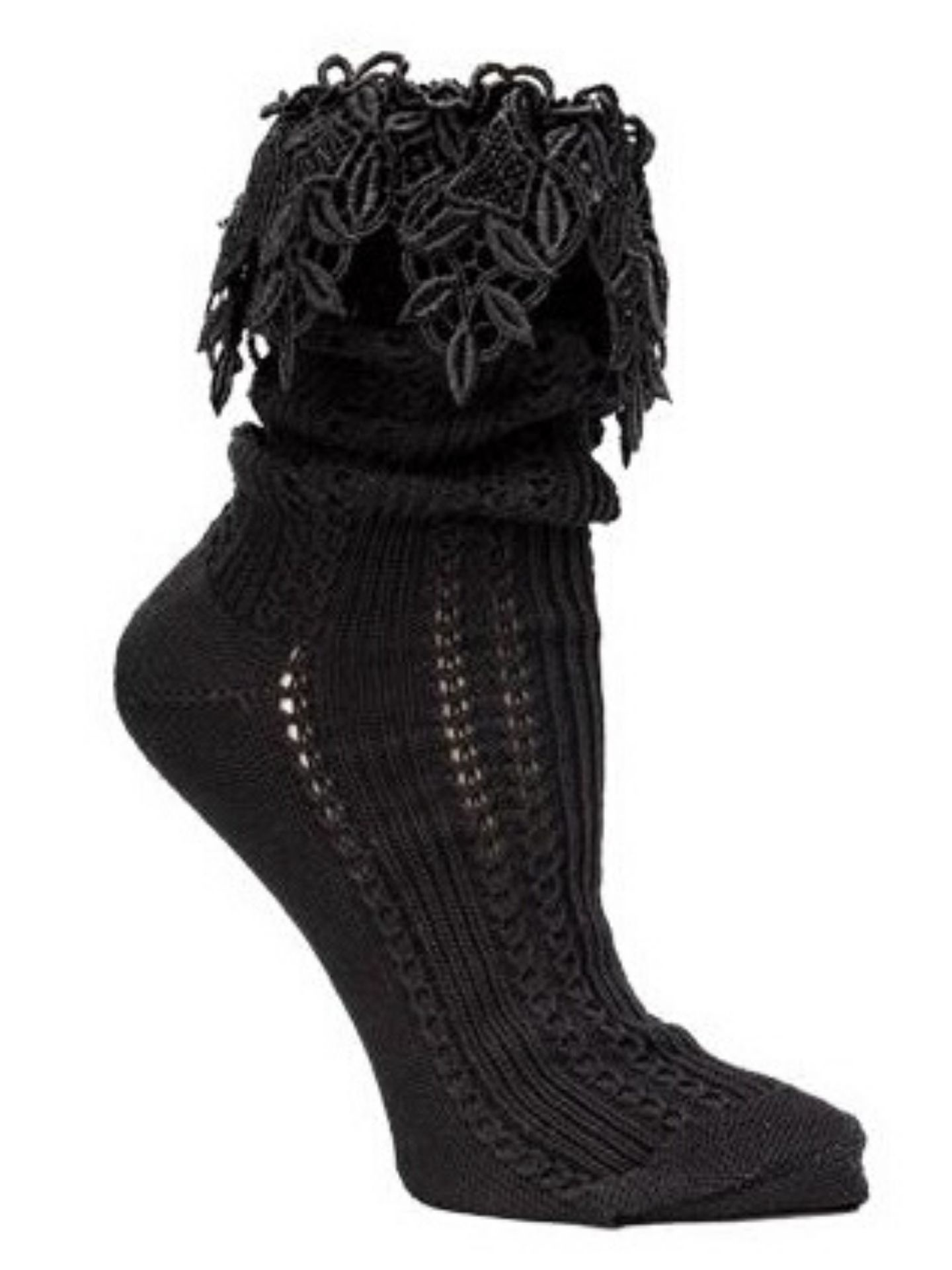 Victorian Trading Co Lacy Slouch Socks Black
