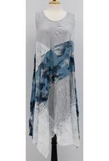 Vine Street Mixed Print Patchwork Dress Grey