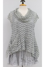 Vine Street Bubble Lace Crop Cowl Top Grey