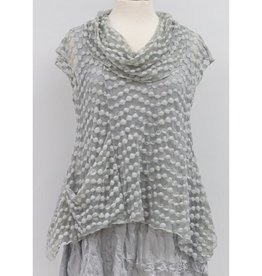 Vine Street Bubble Lace Crop Cowl Top Grey
