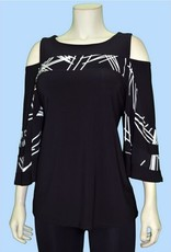 Pretty Woman Cold Shoulder Big Stripes Bell Sleeve Tunic B/W Squares