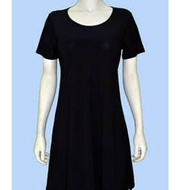 Pretty Woman Short Sleeve A-line Solid Dress Black