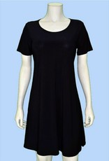 Pretty Woman Short Sleeve A-line Solid Dress Black