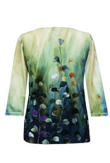 Valentina Signa 3/4 Sleeve Lycra Top Watercolor Leaves