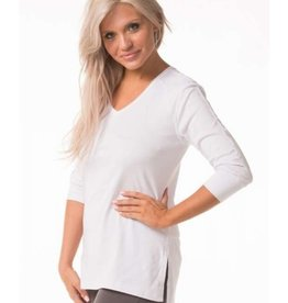 Bleu Bayou V Neck Tunic with Side Slits White